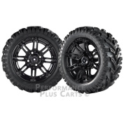 Illusion 36cm Black with Coloured Inserts Golf Cart Wheels w/ 60cm Mud Tyres X 4