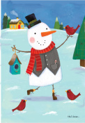 Snowman is happy with his bird friends