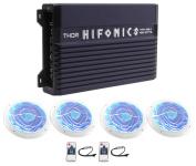 Hifonics TMA-400.4 400w 4-Ch Marine Boat ATV Amplifier Amp+(4) 17cm LED Speakers