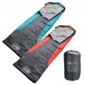 Asab 200gsm 3 Season Mummy Shape Sleeping Bag Hooded Dual Zip Warm Camp Festival