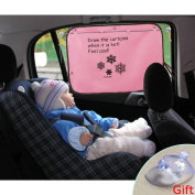 Adjustable Baby Car Sun Shade for Side Window Backseat Double Layer Car Window Shade Curtain Suction Cup UV Protection