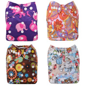 Cloth Nappies,MayWay Baby Cloth Nappies 4 Pack With 4 Inserts One Size Adjustable Snap Washable Cloth Pocket Nappies And 1 Wet Bag