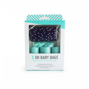 Oh Baby Bags Nappy Bag Clip-On Dispenser Gift Box with Disposable Bags for Dirty Nappies - Recycled Plastic - Navy with White Dots Duffle plus 48 Seaspray Scented Bags