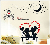 DNVEN (140cm w x 130cm h) PVC Fashion European Style Couple Lovers Street Lamp Lovely Wall Decals Stickers Removable Vinyl Arts for Children's Day Bedrooms Family Playroom Classroom