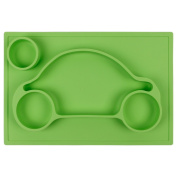 Casa Bonita One Piece Silicone Divided Suction Plate EasyMat Kids Placemat & Divided Suction Plate In One. No Mess Toddler & Baby Car Feeding Set. Suction Bowl Sectional Baby Plate Green