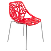 LeisureMod Modern Asbury Dining Chair w/ Chromed Legs in Red