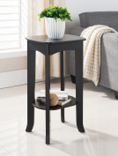 Espresso Wood 16 x 12 Accent Side End Plant Stand Display Table With Storage Shelf
