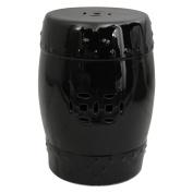 Oriental Unlimited Solid Black Porcelain 46cm . Garden Stool