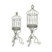 Mint and Rust Birdcage Plant Stand, Set of Two