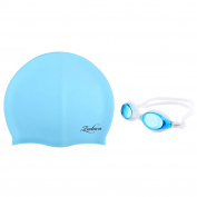 Zodaca Kids Child Adjustable Non-Fogging Anti UV Swim Swimming Goggles+Silicone Elastic Swimming Hat Swim Cap Light Blue