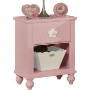 Acme Floresville Nightstand with Basket, Pink and White Flower