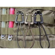 4pcs MOLLE Web Dominators with Elastic String, durable Tactical Strap Management Tool, Backpack Accessories, Tactical Gear Clip, Multipurpose Fastener
