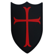Airsoft Crusader Cross Shield Rubber 3d Navy Seals Patch Black & Red Pvc Large