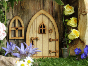 Country Cottage Fairy Door. 3D (Three-Dimensional) Self-Assembly Wooden Fairy Door Craft Kit. Comes with Fairy Window and Door Handle!