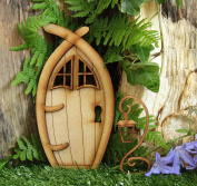 Narnia Fairy Door. Three-Dimensional Self-Assembly Wooden Fairy Door Craft Kit with Fairy Windows and Magical Lantern
