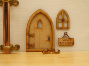 Sleeping Fairy Door. Three-Dimensional Self-Assembly Wooden Fairy Door Craft Kit with Fairy Window, Sign & Fairy Slippers