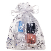 Crafts Organza Gift Bags | White with Silver Snowflakes, Size 15cm x 10cm