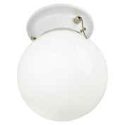 Chapter Flushmount Lht 15cm Globe Wchn Wh W/ Bulb