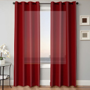 1 PANEL MIRA SOLID BURGUNDY SEMI SHEER WINDOW FAUX SILK GROMMETS CURTAIN DRAPES 55 WIDE X 160cm LENGTH