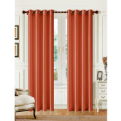 1 PANEL MIRA SOLID BRICK SEMI SHEER WINDOW FAUX SILK ANTIQUE GROMMETS CURTAIN DRAPES 55 WIDE X 160cm LENGTH