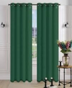 1 PANEL MIRA SOLID HUNTER GREEN SEMI SHEER WINDOW FAUX SILK silver GROMMETS CURTAIN DRAPES 55 WIDE X 160cm LENGTH