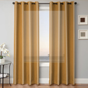 1 PANEL MIRA SOLID GOLD SEMI SHEER WINDOW FAUX SILK ANTIQUE silver GROMMETS CURTAIN DRAPES 55 WIDE X 160cm LENGTH