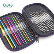 bargain house Mixed Aluminium Handle Crochet Hooks Knitting Knit Needles Weave Yarn Set- 22 pieces.