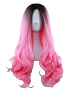 AneShe Ombre Wig Long Wavy 2 Tone Black and Pink Ombre Wig Dark Roots Heat Resistant Fibre Full Wigs for Women