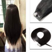 Tape in Hair Extensions 100% Remy Human Hair 41cm 46cm 50cm 60cm Double Side Tape Seamless Skin Weft Natural Hair Extensions 20pcs Long Straight Silky for Women and Girls