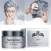 Ms.Dear Instant Silver Grey Hair Wax, Hairstyle Cream 130ml, Silvery Grey Hair Pomades, Natural Silver Ash Matte Hairstyle Wax for Men and Women