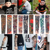 Kids Fake Tattoo Arm Sleeve Nylon Stretchable Tattoo Sleeves Arm Stockings Tattoo 10 PCS