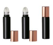 Grand Parfums Coloured Glass Aromatherapy 10ml Rollon Bottles with Glass Roller and COPPER CAPS