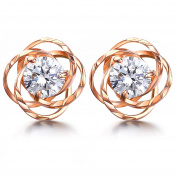 J.SHINE Rose Gold Stud Earrings Women with 925 Sterling Silver 3A 6MM Cubic Zirconia