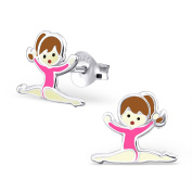Pink Gymnastics Girl Earrings - Sterling Silver