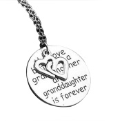 """MJARTORIA """"The love between grandmother and granddaughter is forever"""" Engraved Pendant Necklace"""