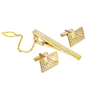 MJARTORIA Men's Classic Square Stripe Rhinestone Cufflinks and Tie Clip Set