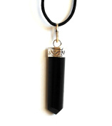 Reiki Energy Charged Black Obsidian Polished Crystal Stone Pendant with Cord