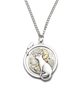 Cat and Mouse Steampunk Watch Movement Pendant Necklace on Silver Plated Chain. Hand Made in Cornwall, UK.
