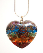 Reiki Energy Charged Chakra Orgone Crystal Heart Pendant with Silver Chain