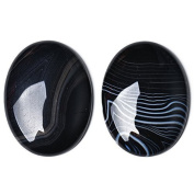 1 x Black Banded Agate 18 x 25mm Oval-Shaped Flat-Backed Cabochon - (CA17406-3) - Charming Beads