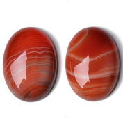 1 x Red Banded Agate 18 x 25mm Oval-Shaped Flat-Backed Cabochon - (CA17393-3) - Charming Beads
