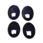 1 x Blue Goldstone 18 x 25mm Oval-Shaped Flat-Backed Cabochon - (CA16668-6) - Charming Beads