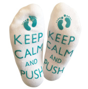 'Keep Calm And Push' Funny Labour Socks For The Mummy To Be