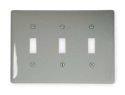 HUBBELL WIRING DEVICE-KELLEMS NP3GY Wall Plate,Switch,3 Gangs,Grey