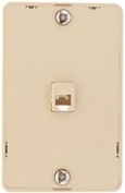 PHONE JACK MODULAR 4 CONVERTOR WITH WALL PLATE IVORY
