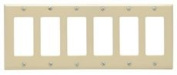 DECO 6 GANG WALL PLATE IVORY