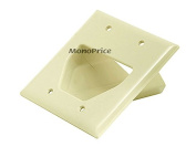 Monoprice 106169 Recessed Low Voltage Cable Wall Plate, 2-Gang, Ivory (Discon...