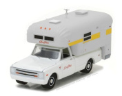 NEW 1:64 GREENLIGHT HOBBY EXCLUSIVE - White 1968 Chevrolet C10 With Silver Streak Camper Diecast Model Car By Greenlight