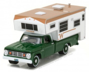 NEW 1:64 GREENLIGHT HOBBY EXCLUSIVE - Green 1967 Dodge D-100 With Winnebago Slide-In Camper Diecast Model Car By Greenlight