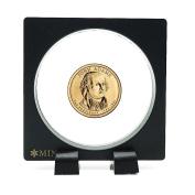 Medallion Challenge Coin Display Case Holder with Stand Round Black Chip Presentation Box